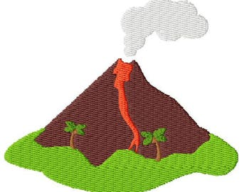 Erupting Volcano Embroidery Design - Instant Download