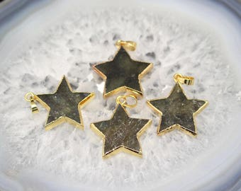 3-10pcs Flat Star Slice Pendants,Plated Gold Edge Labradorite Gems Pendentif,Natural Stones Craft Necklace Bulk