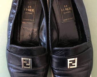 Vintage Fendi Loafers 6.5 Black Leather Flats FF logo Shoes