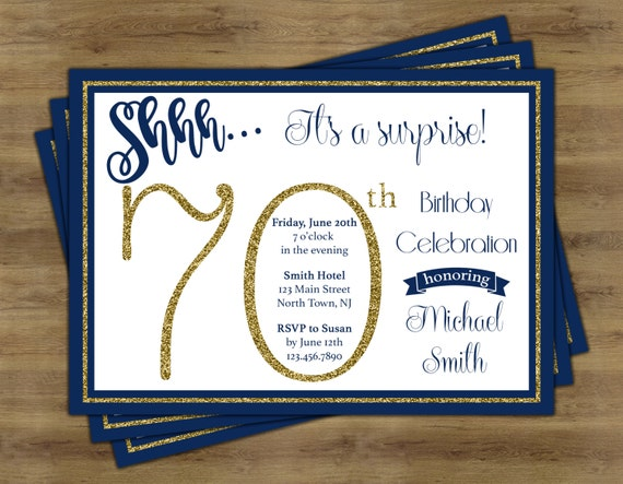Surprise 70th birthday invitation surprise birthday like this item filmwisefo Gallery