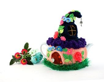 Crochet tea cozy Fairy house teapot cosy Fairy-tale house Rural house  Tea cozy with flowers Teapot warmer