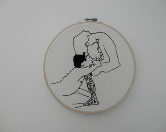 Egon Schiele Stitchery - The Lovers