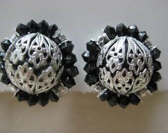 Black Silver Earrings Clip Filigree Vintage Japan