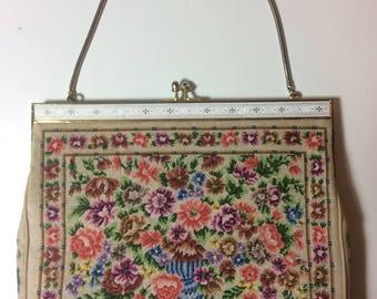Vintage Needlepoint Tapestry Handbag