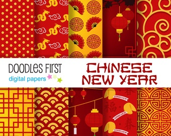 Chinese New Year Digital Paper Pack Includes 10 for Scrapbooking Paper Crafts