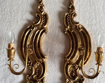 2 Wall lamps Baroque wood Gilded