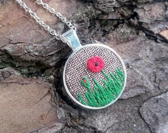 August birth flower necklace Poppy necklace for girlfriend gift|for|her Minimalist jewelry gift|for|mom necklace Embroidered necklace