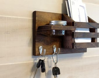 Rustic Farm House Wood Key Holder,Mail Organizer, Entryway Shelf, Apartment, Condo, Made To Order 16 color options