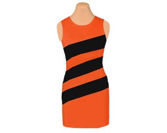 Orange + Black Diagonal Stripe Dress