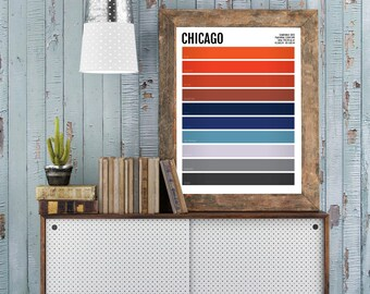 Chicago Minimalist Print - CHI Minimal Poster - Wall Art, Apartment Décor, Abstract Illustration, Boyfriend Gift, Husband Gift, Spring