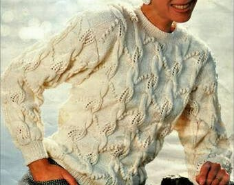 Ladies white  Cable and Lace 5 ply Jumper knitting pattern, instant download pdf, size 8 to 16 inch chest
