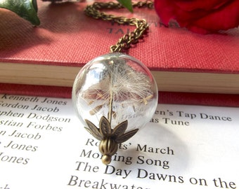 Dandelion seeds wish necklace - botanical jewellery - dandelion seeds - dandelion necklace - handmade in the UK by The Autumn Orchard