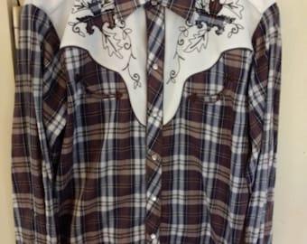Vintage H Bar C California Ranchwear Pearl Snap Western Shirt Size 17-34