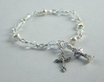Holy Communion Bracelet with Czech Beads and Swarovski Pearls