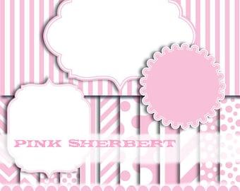 Pink Digital paper frame baby pink chevron photo circle digital frames clip art girl stripe : p0176 3s3750
