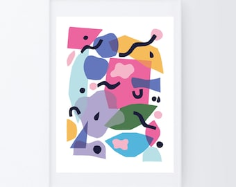 Colorful wall art, abstract art, colorful print, large wall art, modern art print, whimsical art, modern art large wall, abstract poster