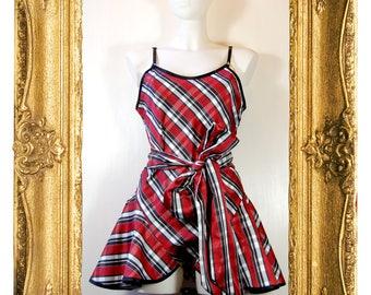 Lola Red & Black Plaid Play Suit