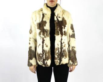 Rabbit Fur Coat For Women // 80s Rabbit Fur Coat // 80s Fur Coat Women // Rabbit Coat Jacket // Rabbit Fur Jacket Women // Fur Vintage