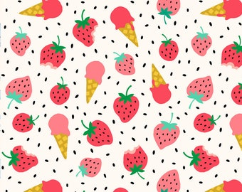 Pre-order Strawberry Kitchen Tea towel fruit summer ice cream, linen cotton / theedoek - design by Heleen van den Thillart