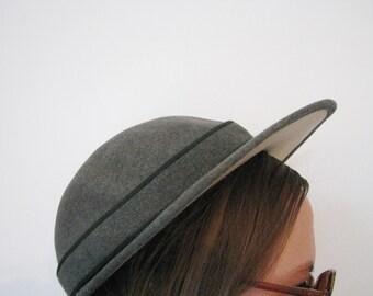 30s/40s Grey Wool Cap // Vintage Perky Hunting Brim Hat