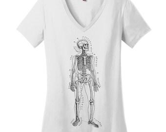 Skeleton V Neck Tee Womens Shirt Nerdy Shirt Science Teacher Gift Teacher Shirts Scientist Shirt College Student Gift Anatomy Drawing Shirt