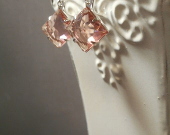 Lady Edith - Downton Style Abbey Jewelry - Peach Crystal Earrings - Estate Style Earrings - Bridesmaid Gift - 1920s Womens Jewelry