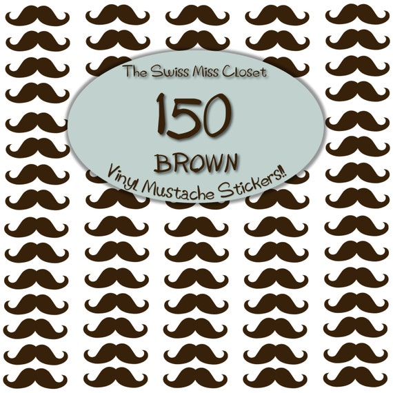 150 2 inch Brown or Black Mustache Stickers, Envelope Seals, Party Favors, Party Glasses, Unlimited Possiblities