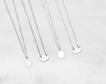 Disk Necklace • Oval Initial Necklace • Oval Initial Pendant • Oval Pendant • Initial Necklace  • Personalized Disk • Initial Pendant •