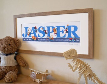 DIGGER THEME - Children's / kid's / baby's illustrated name art picture, personalised unframed print
