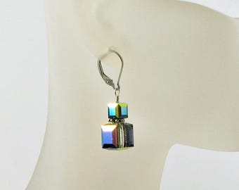 Interchangeable Crystal Cube Earrings; Handmade Swarovski Crystal Vitrail Medium charms; Geometric Drops; Sterling Silver Wire wrapped
