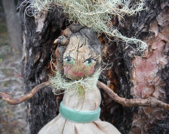 Art Doll,Figurative Art,Stick Art Doll,Vintage Hankie Stick Doll,OOAK Art Doll,Twig Sculpture w/ Vintage Linens,Nature Inspired Art Doll