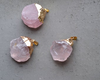 Raw Rough Natural Rose Quartz Charm Pendant Pink Crystal Quartz Mineral Charms Healing Crystal
