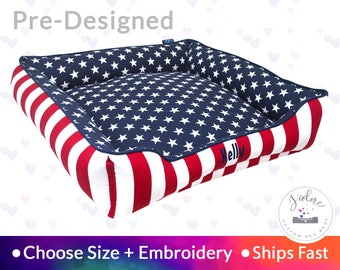 Stars & Stripes Dog Bed - America, Red, White, Blue | Washable, Reversible and High Quality - Ships Fast!