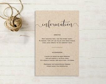 Wedding Enclosure Card, Details Card, Information card, Printable, Wedding Enclosure, Info Card, Template, PDF, Kraft Calligraphy, SPP003