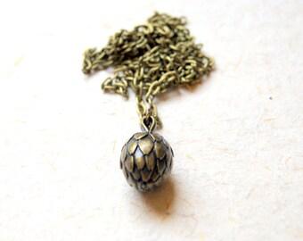 Artichoke Necklace - Vintage Antiqued Brass Artichoke Pendant