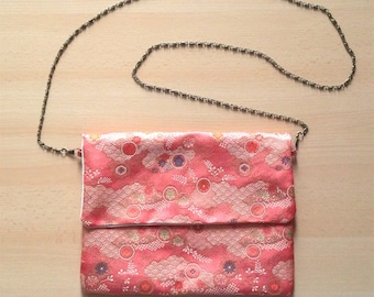 Soft salmon pink cotton inner obi fabric clutch
