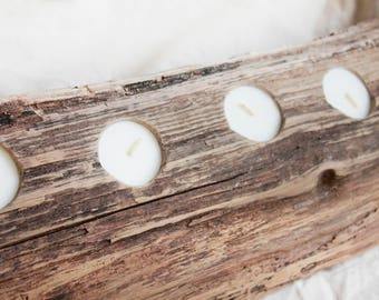 reclaimed wood candle holder, rustic wood tealight holder, farmhouse table centerpiece, handmade candle holders, tealight holder centerpiece