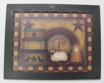 """Primitive Wall Decor,Primitive Wood Sign,Primitive Sheep,Country Wall Decor,18 1/2""""x14 1/2"""",Carrie Knoff"""