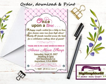 Once Upon a Time, Storybook, Fairytale Whimsical Baby Shower Invitation - Printable Personalized File