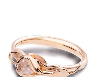 Leaves Engagement Ring - 18K Rose Gold and Rough Diamond engagement ring, Unique Engagement ring, rough diamond ring, raw diamond ring, 6