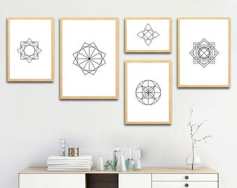 Geometry Shapes and Lines, Abstract printable art, gift ideas, home decoration wall art, digital download, print at home, 37-45
