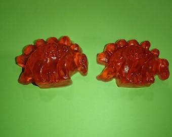 2 Stegosaurus Glycerin Soaps