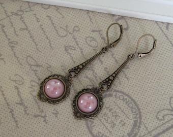 Art Deco Style Dusky Pink Earrings
