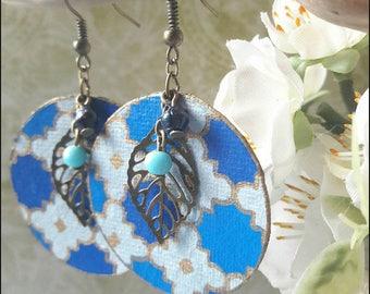 Paper, sheet, blue, gold earrings