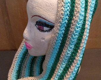 Crocheted Star stitch Green Blue Tan striped infinity scarf wrap head cap
