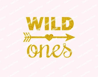 Wild Ones Iron On, Non-Shed Glitter, Gold, Shirt Iron On, DIY, Heat Transfer, Glitter, Twins First Birthday, NOT DIGITAL, Iron-On Decal