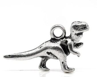 2 charms silver dinosaur 22x12mm