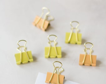 Apricot + Butter Mix Large Metal Binder Clips - 6 pc