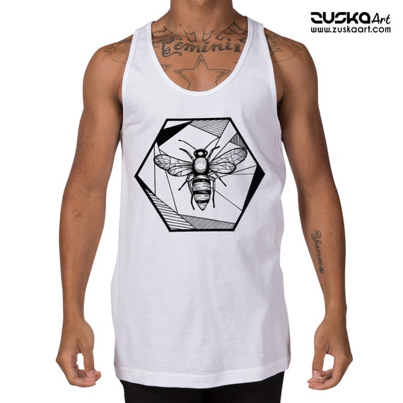 Honeycomb Bee | Unisex American Apparel Tank Top | Geometric Art | Save The Bees | Ink Tattoo style | ZuskaArt