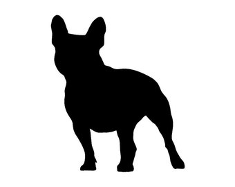 French Bulldog v2 Dog Breed Silhouette Custom Die Cut Vinyl Decal Sticker - Choose your Color and Size